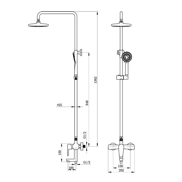 Wall mounted Shower Mixer