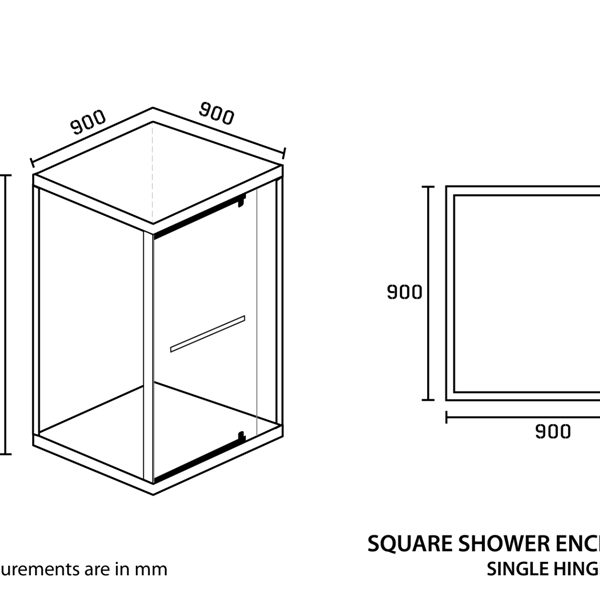 Shower Enclosure Square 900 x 900 x 2000mm