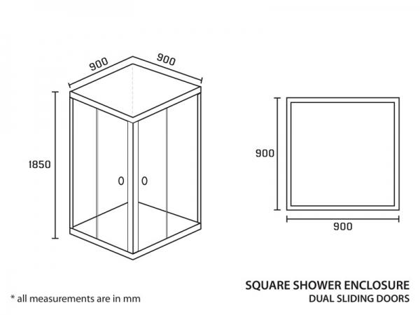 Shower Enclosure Square 900 x 900 x 1850mm