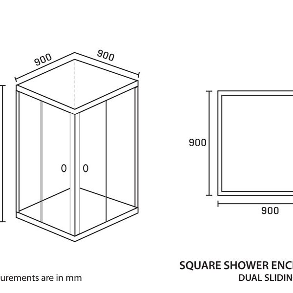Shower Enclosure Square 900 x 900 x 1850mm