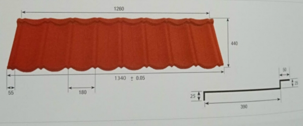 Stone coated steel roofing tile Roman Profile
